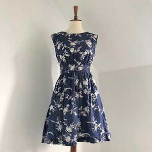 Modcloth Emily and Fin Blue and White Floral Dress
